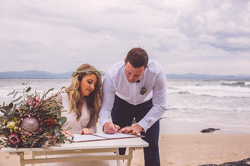 Byron Bay Wedding- Hitched in Paradise - Wategos Beach Elopement