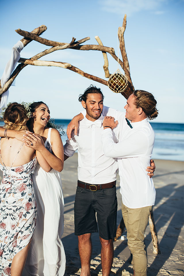 Fun Byron Bay Elopement - Hitched In Paradise - Tallows Beach